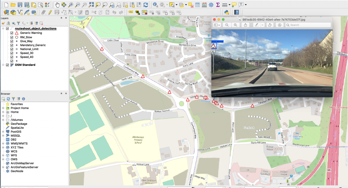 Machine vision integrated with GIS